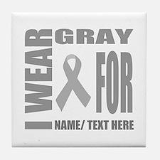 Gray Awareness Ribbon Customized Tile Coaster