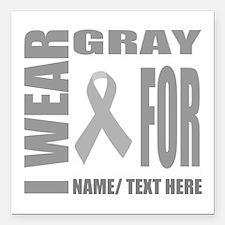 """Gray Awareness Ribbon Cu Square Car Magnet 3"""" x 3"""""""
