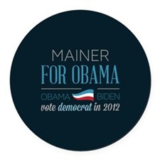 Mainer For Obama Round Car Magnet