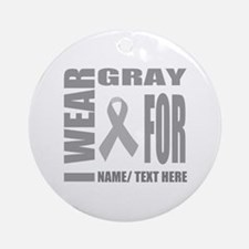 Gray Awareness Ribbon Customized Round Ornament