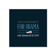 "New Hampshirite For Obama Square Sticker 3"" x 3"""