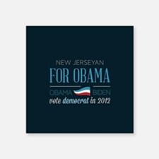 "New Jerseyan For Obama Square Sticker 3"" x 3"""