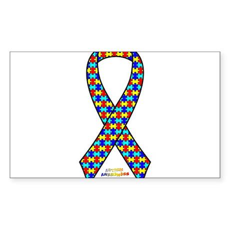 Autism Awareness Ribbon Sticker (Rectangle)