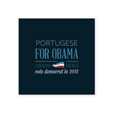 "Portugese For Obama Square Sticker 3"" x 3"""