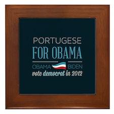 Portugese For Obama Framed Tile