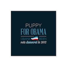 """Puppy For Obama Square Sticker 3"""" x 3"""""""