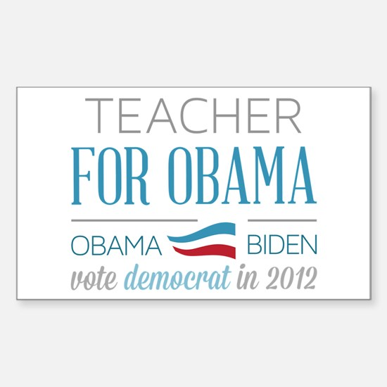Teacher For Obama Sticker (Rectangle)