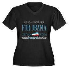 Union Worker For Obama Women's Plus Size V-Neck Da