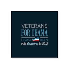 "Veterans For Obama Square Sticker 3"" x 3"""