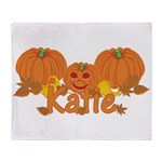 Halloween Pumpkin Katie Throw Blanket