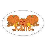 Halloween Pumpkin Katie Sticker (Oval)