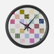 Rainbow Quilt Large Wall Clock