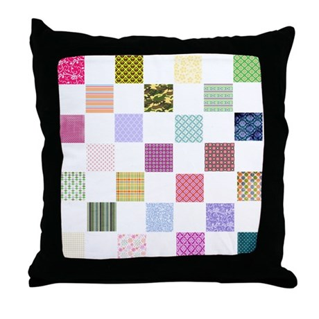 Rainbow Quilt Throw Pillow by InspirationzStore