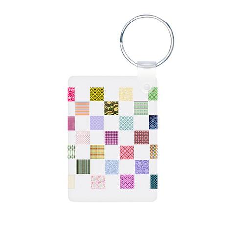 Rainbow Quilt Aluminum Photo Keychain