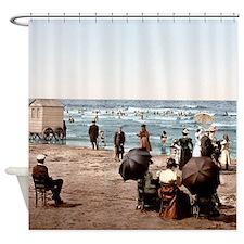 Vintage Beach Scene Shower Curtain