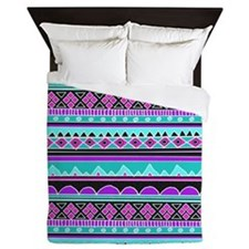 Blue and Purple Tribal Pattern Queen Duvet