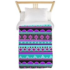 Blue and Purple Tribal Pattern Twin Duvet