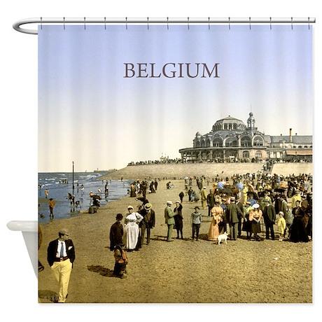 Vintage Belgium Beach Shower Curtain