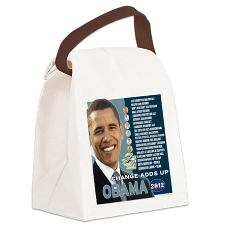 Obama 2012 T-shirts CHANGE ADDS UP Canvas Lunch Ba
