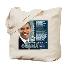 Obama 2012 T-shirts CHANGE ADDS UP Tote Bag