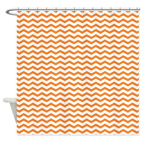 Orange zig zag Shower Curtain