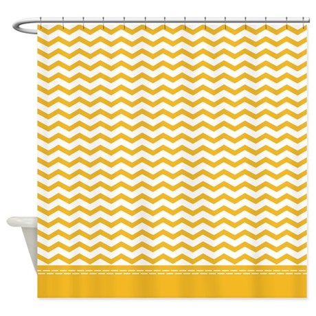 Yellow chevron shower curtain by inspirationzstore