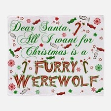 Dear Santa Werewolf Throw Blanket