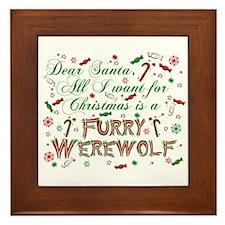 Dear Santa Werewolf Framed Tile