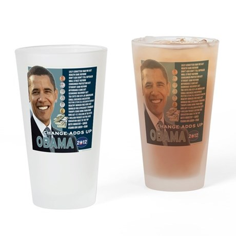 Obama 2012 T-shirts CHANGE ADDS UP Drinking Glass