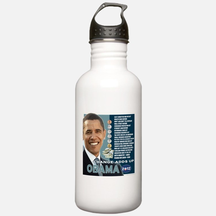 Obama 2012 T-shirts CHANGE ADDS UP Water Bottle