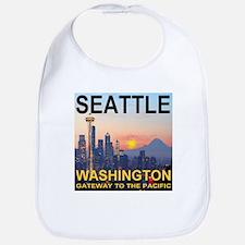 Seattle WA Skyline Graphics Sunset Bib