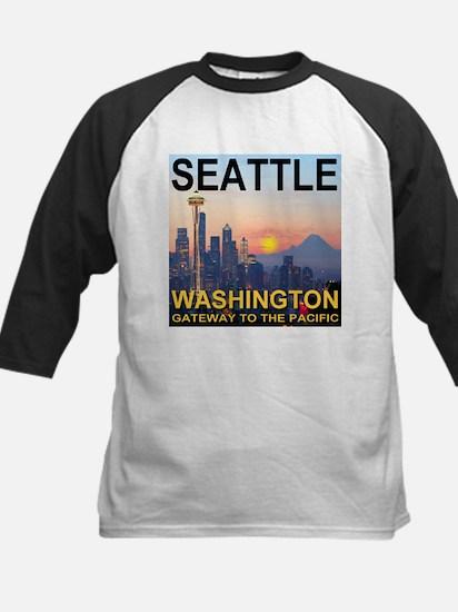 Seattle WA Skyline Graphics Sunset Kids Baseball J