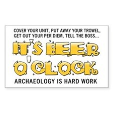Beer O'Clock Rectangle Decal