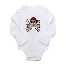 Personalized Pirate Skull Long Sleeve Infant Bodys