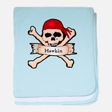 Personalized Pirate Skull baby blanket