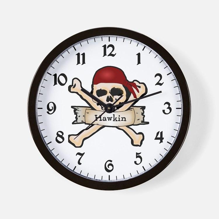 Personalized Pirate Skull Wall Clock