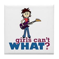 Bass Guitar Girl Tile Coaster