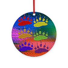 RAINBOW BEAR PAWS ON RAINBOW Ornament (Round)