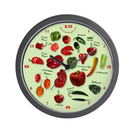 Colorful Chili Peppers Wall Clock By Emeraldforest