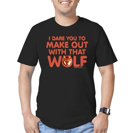 I Dare You Wolf Make-out Men's Fitted T-Shirt
