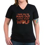 I Dare You Wolf Make-out Women's V-Neck T-Shirt