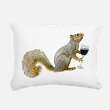 Squirrel with Wine Rectangular Canvas Pillow