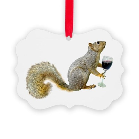 Squirrel with Wine Picture Ornament