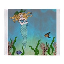 Vintage Mermaid Throw Blanket