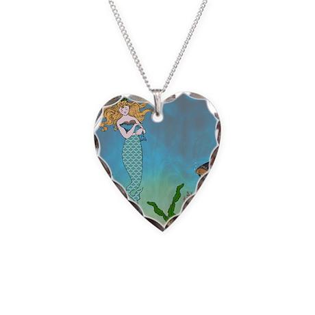 Vintage Mermaid Necklace Heart Charm