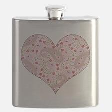 PINK PAISLEY HEART Flask