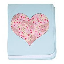 PINK PAISLEY HEART baby blanket