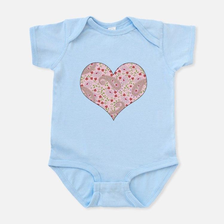 PINK PAISLEY HEART Infant Bodysuit