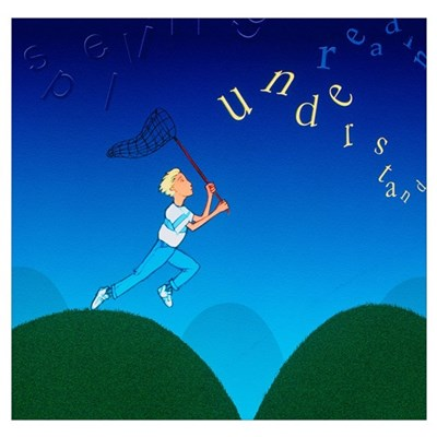 Abstract artwork of a dyslexic boy chasing words Poster