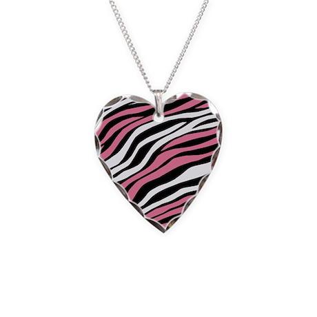 Zebra Print Mix Pink Necklace Heart Charm
